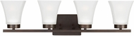Seagull 4411604EN-710 Bayfield Contemporary Burnt Sienna LED 4-Light Bath Sconce