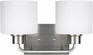 Seagull 4428802EN3-962 Canfield Modern Brushed Nickel LED 2-Light Bathroom Wall Sconce