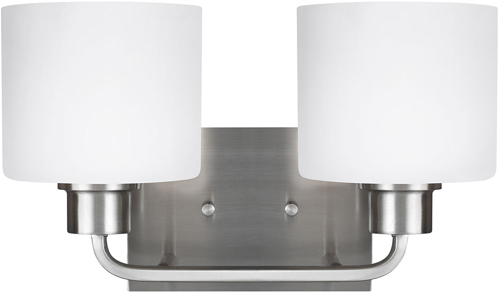 Seagull 4428802en3 962 Canfield Modern, Bathroom Wall Sconces Brushed Nickel