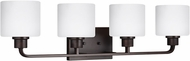 Seagull 4428804EN3-710 Canfield Contemporary Burnt Sienna LED 4-Light Bathroom Lighting Sconce
