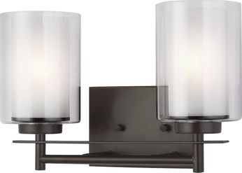 Seagull 4437302-782 Elmwood Park Contemporary Heirloom Bronze 2-Light Bathroom Lighting Fixture