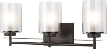 Seagull 4437303-782 Elmwood Park Contemporary Heirloom Bronze 3-Light Vanity Light