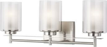 Seagull 4437303-962 Elmwood Park Modern Brushed Nickel 3-Light Bath Light Fixture