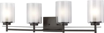 Seagull 4437304-782 Elmwood Park Contemporary Heirloom Bronze 4-Light Bath Lighting Fixture