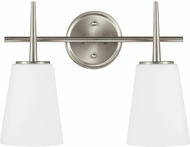Seagull 4440402-962 Driscoll Modern Brushed Nickel 2-Light Bath Lighting