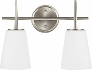 Seagull 4440402EN3-962 Driscoll Contemporary Brushed Nickel LED 2-Light Vanity Lighting