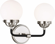 Seagull 4487902-962 Cafe Contemporary Brushed Nickel 2-Light Bath Lighting Fixture