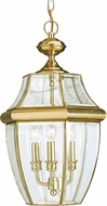 Seagull 6039-02 Lancaster Traditional Polished Brass Outdoor Pendant Light Fixture