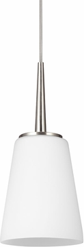 Seagull 6140401EN-962 Driscoll Contemporary Brushed Nickel LED Mini Pendant Light Fixture