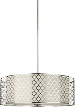 Seagull 6515504-962 Jourdanton Modern Brushed Nickel Drum Hanging Light Fixture