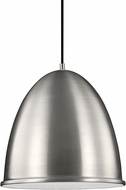 Seagull 6525491S-04 Hudson Street Modern Satin Aluminum LED 8  Hanging Pendant Lighting