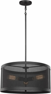 Seagull 6528503-12 Gereon Contemporary Black 19  Drum Drop Ceiling Light Fixture