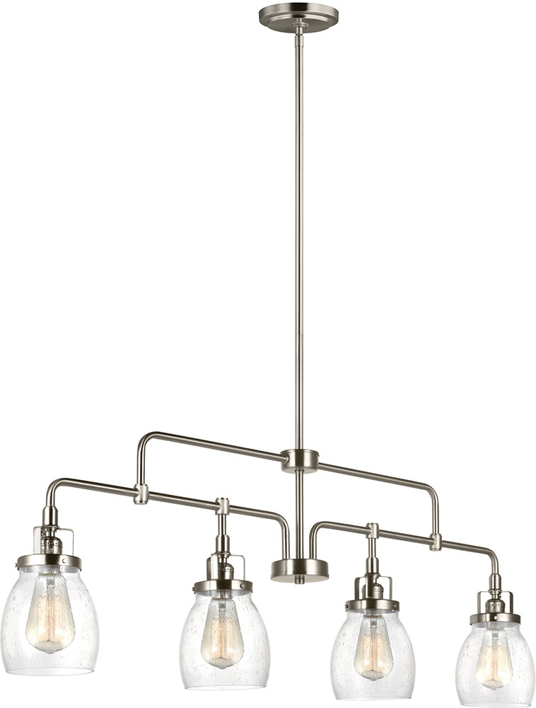 Seagull 6614504 962 Belton Modern Brushed Nickel Kitchen Island Light Fixture Sgl