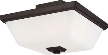 Seagull 7713702-778 Ellis Harper Contemporary Brushed Oil Rubbed Bronze Flush Ceiling Light Fixture