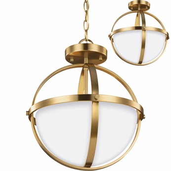 Seagull 7724602EN-848 Alturas Modern Satin Bronze LED Hanging Light Fixture / Flush Mount Ceiling Light Fixture