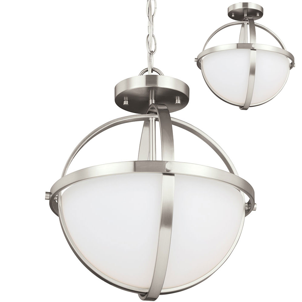 3 Light Led Ceiling Pendant Brushed Nickel Contemporary: Seagull 7724602EN-962 Alturas Contemporary Brushed Nickel