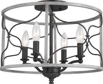 Seagull 7731504-808 Carra White Wash Overhead Lighting Fixture