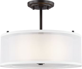 Seagull 7737302EN3-782 Elmwood Park Contemporary Heirloom Bronze LED Ceiling Lighting Fixture