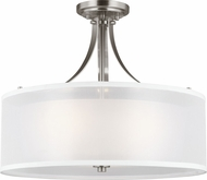 Seagull 7737303-962 Elmwood Park Modern Brushed Nickel Flush Mount Lighting
