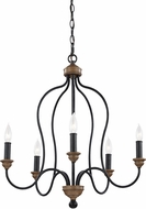 Seagull F2998EN/5DWZ/WO Hartsville Traditional Dark Weathered Zinc / Weathered Oak Mini Hanging Chandelier