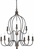 Seagull F2999/9DWZ/WO Hartsville Traditional Dark Weathered Zinc / Weathered Oak Chandelier Light