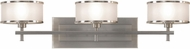 Seagull VS13703-BS Casual Luxury Brushed Steel 3-Light Bath Wall Sconce