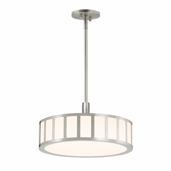 Sonneman 2520.13 Capital Contemporary Satin Nickel Finish 16.5  Wide LED Drum Pendant Light Fixture