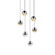 Sonneman 2915.01.SML Grapes Modern Polished Chrome LED Small Multi Drop Ceiling Lighting