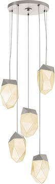 Sonneman 3005.13-MED Facets Modern Satin Nickel LED Multi Pendant Light Fixture