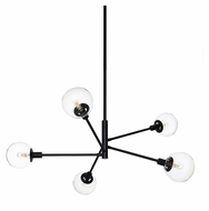 Sonneman 4595.25C Orb Satin Black 5 Light Drop Ceiling Lighting