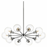 Sonneman 4598.01C Orb 32 Inch Diameter 10 Light Clear Glass Radial Pendant Lamp