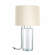 Sonneman 4775.87K Vaso Contemporary Clear Glass w/ Black Silk Lighting Table Lamp