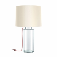 Sonneman 4775.87R Vaso Modern Clear Glass w/ Red Silk Table Lamp Lighting