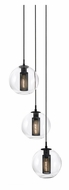 Sonneman 4934.97 Tribeca Small 17 Inch Diameter 3 Light Multi Pendant Lighting - Textured Black