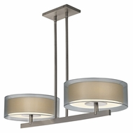 Sonneman 6000.13 Puri Satin Nickel 2 Light Bar Lighting Pendant - Silver Organza Shade