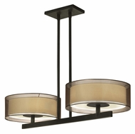 Sonneman 6000.51 Puri Black Brass 36 Inch Wide Bar Light With Bronze Organza Shade