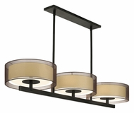 Sonneman 6001.51 Puri 48 Inch Long Bronze Organza Shade Black Brass Finish Island Lighting