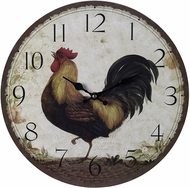 Sterling 118-031 Rooster Rustic Print on wood tone Rooster Wall Clock