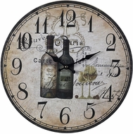 ELK Home 118-032 French Wine Bottles Tan & Black & Brown Wine Bottles Wall Clock