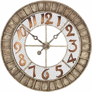 ELK Home 128-1001 Distressed Antique Cream Round Metal Outdoor Wall Clock
