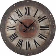 ELK Home 128-1005 Roman Numeral Jardim Grey With Copper Highlight Metal Roman Numeral Outdoor Wall Clock