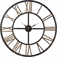 ELK Home 129-1024 Roman Numeral Mombaca Black & Gold Metal Framed Roman Numeral Open Back Wall Clock