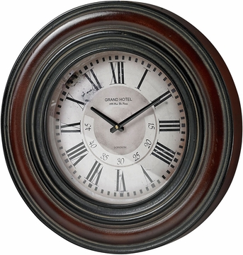 Sterling 130-005 Mahogany Railroad Large Clock With Distressed Hand painted Frame