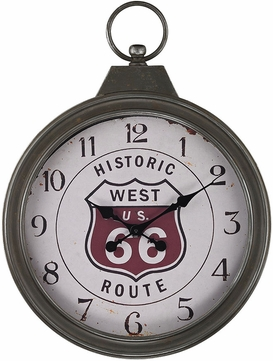Sterling 138-175 Aged Iron Fob Style Route 66 Clock