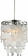 Sterling 144-025 Contemporary Mop Shell & Chrome Mini Drop Ceiling Light Fixture