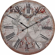 Sterling 171-004 Beige Printed Map Renaissance Style Printed Map Clock