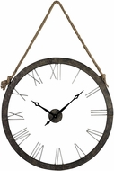 ELK Home 26-8643 Leona Rustic Iron & Silver Metal Wall Clock Hung On Rope