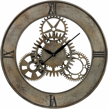 Sterling 26-8666 Rossmeen Court Silver With Champagne Antique Industrial Cog Wall Clock By