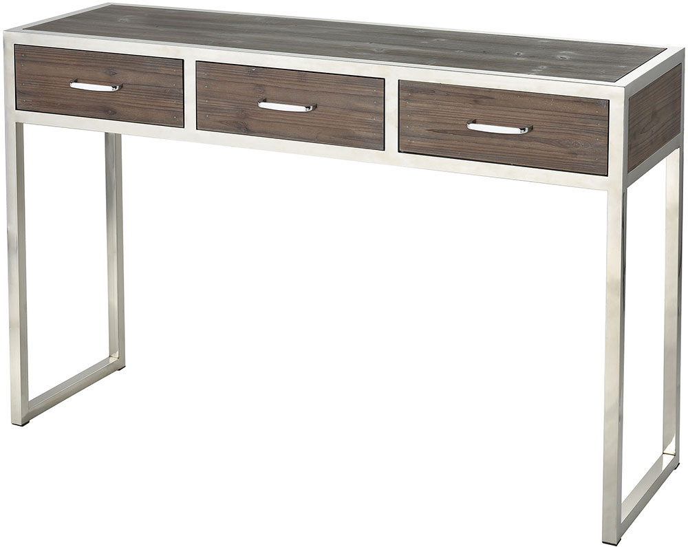 Sterling 3183 022 Beefcake Walnut / Stainless Steel Console Table. Loading  Zoom