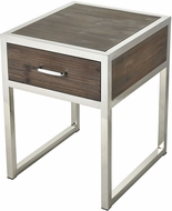 Sterling 3183-026 Beefcake Walnut / Stainless Steel Accent Table